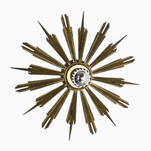 Mid-Century Italian Brass Sunburst Sconce