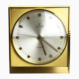 Mid-Century German Hollywood Regency Brass Table Clock from Junghans
