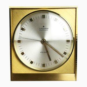 Reloj de mesa Hollywood Regency alemán Mid-Century de latón de Junghans