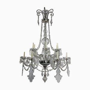 Lámpara de araña francesa antigua grande de cristal tallado