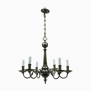 Lámpara de araña francesa antigua estilo gótico de bronce, década de 1900