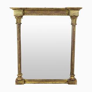 Espejo de pared Regency inglés antiguo dorado, década de 1810