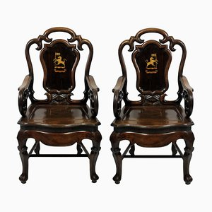 Antike Armlehnstühle aus Palisander, 1830er, 2er Set