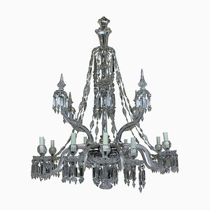 Antiker neoklassizistischer Kronleuchter mit Behang aus Kristallglas & geschliffenem Glas von F & C Osler