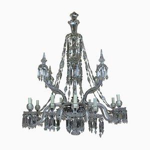 Lámpara de araña neoclásica antigua de cristal y vidrio tallado de F & C Osler