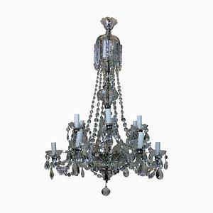 Lámpara de araña inglesa de cristal tallado, años 50