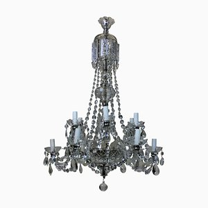 English Cut Glass Chandelier, 1950s