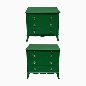 Cajoneras lacadas en verde, años 70. Juego de 2