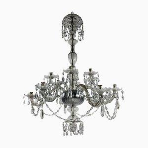 Lámpara de araña italiana antigua de cristal