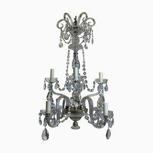 Lámpara de araña francesa antigua de cristal tallado