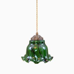 Lámpara de techo Mid-Century de vidrio verde