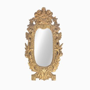 Espejo de pared de madera dorada, siglo XVIII
