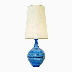 Lampe de Bureau Rimini Vintage en Poterie Bleue par Aldo Londi pour Bitossi