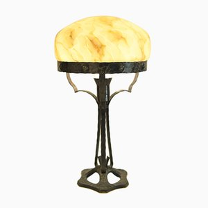 Swedish Wrought Iron and Glass Table Lamp, 1920s