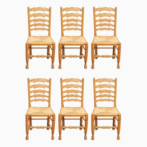 Antique Ladder Back Dining Chairs, 1910s, Set of 6