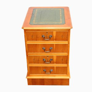 Yew and Leather Filing Cabinet, 1960s