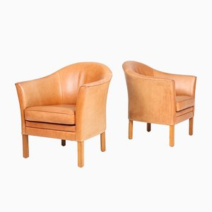 Danish Leather Lounge Chairs by Lars Kalmar for Mogens Hansen, 1980s, Set of 2