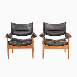 Mid-Century Danish Oak and Leather Lounge Chairs by Kristian Vedel, 1960s, Set of 2
