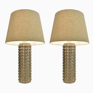 Lampes de Bureau Mid-Century en Verre de Luxus, Suède, années 60, Set de 2