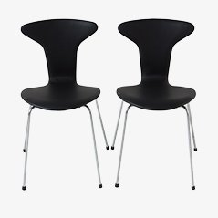 Black Leather Mosquito Chair by Arne Jacobsen for Fritz Hansen