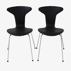 Schwarzer Leder Mosquito Chair von Arne Jacobsen für Fritz Hansen