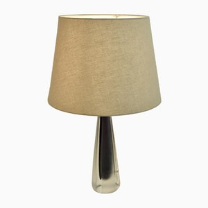 Swedish Purple Frosted Doublecoated Glass Table Lamp from Kosta, 1950s