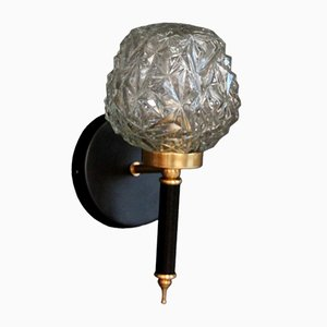 Molded Glass Black Metal and Brass Globe Sconce, 1950s