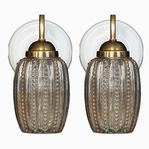 Brass, Porcelain, and Amber Glass Sconces, 1950s, Set of 2