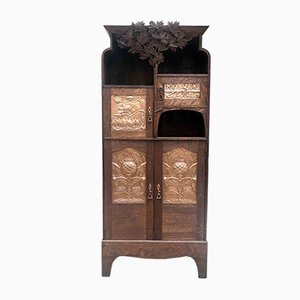 Vintage Copper-Embossed and Oak Cabinet
