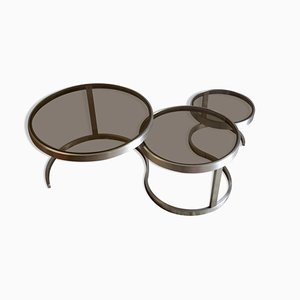 Brushed Metal Nesting Tables, 1970s, Set of 3