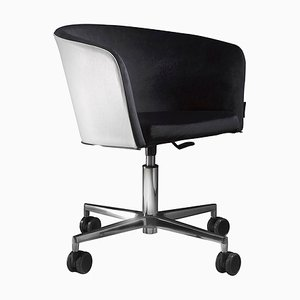 Office Chair with Leather Backing and 4 wheels by Jacobo Ventura for CA Spanish Handicraft