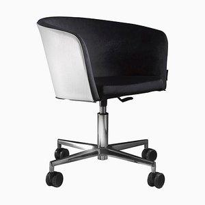 Sedia da ufficio con schienale in pelle e ruote di Jacobo Ventura per C.A. Spanish Handicraft