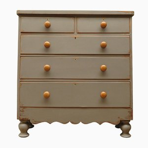 Antique Gray Bow-Front Dresser