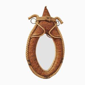 Specchio in corda e pelle di Audoux Minet, anni '50