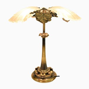 Art Nouveau Style Bronze and Frosted Glass Table Lamp, 1950s