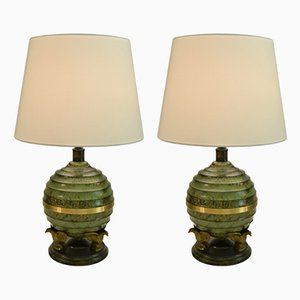 Art Deco Swedish Bronze Patinated Table Lamps from SVM Handarbete, 1930s, Set of 2