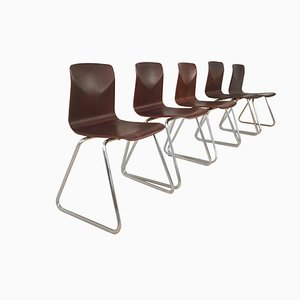 Mid-Century Stackable Chairs, Set of 5