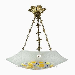 Art Deco Enamel and Frosted Glass Ceiling Lamp from Loys Lucha, 1930s