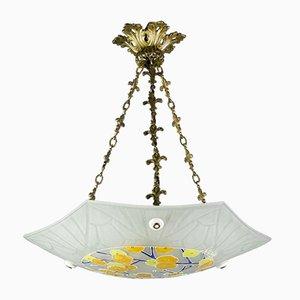 Lampada da soffitto Art Déco smaltata in vetro di Loys Lucha, anni '30