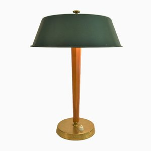 Art Deco Swedish Oak, Brass, and Metal Table Lamp, 1930s