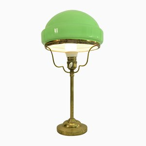 Art Nouveau Swedish Brass and Glass Table Lamp from Pukeberg, 1920s