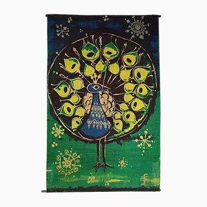 Dänische Graphic Art Peacock Jute Tapisserie von Hans Jürgen Schöbel für Södahl Design, 1968