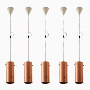 Lampes à Suspension Scandinaves Modernes en Cuivre et en Teck par Uno & Östen Kristiansson pour Luxus, 1960s, Set de 5