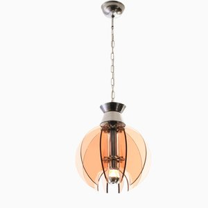 Italian Smoked Glass and Metal Pendant Lamp from Fontana Arte, 1970s