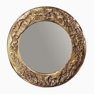 Brutalist Italian Brass Wall Mirror, 1960s