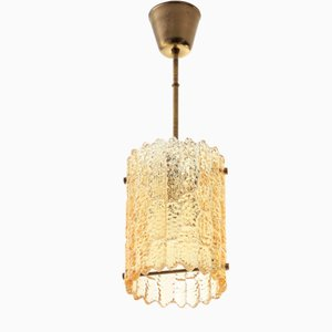Scandinavian Modern Crystal and Brass Pendant Lamp by Carl Fagerlund for Orrefors, 1960s
