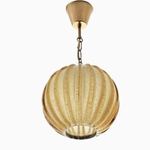 Scandinavian Modern Glass and Brass Pendant Lamp by Carl Fagerlund for Orrefors, 1960s