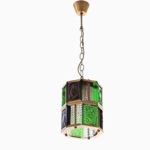 Lampe à Suspension Scandinave Moderne en Verre Coloré et Laiton par Erik Höglund pour Boda, 1960s
