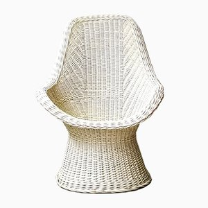 German White Rattan Lounge Chair, 1970s