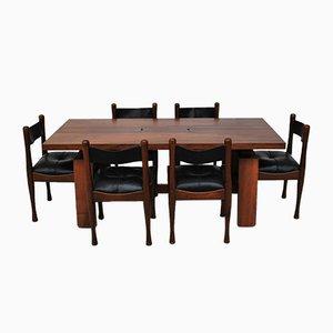 Juego de mesa y sillas de comedor de Silvio Coppola para Bernini, años 60. Juego de 6